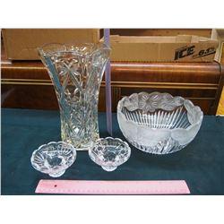 Crystal Vase, Bowl & Candle Holders (2)