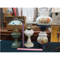 Vintage Coal Oil Lamps (2)& 1 Electric Lamp