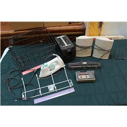 Lot of Household Misc: Toaster, Iron, Speakers, Etc