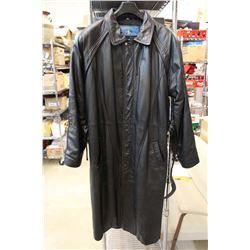 Men's Medium Leather full length dress overcoat.