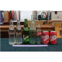 Lot of Vintage Pop Bottles (5) & Cans (2)