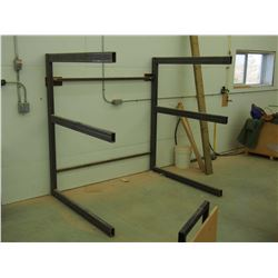 """Metal Material Stand, Bolts To Wall, 74""""x58""""x72"""""""