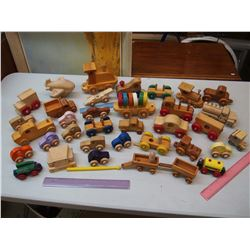 Lot of Wooden Toy Vehicles