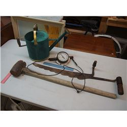 Vintage Tools: Watering Can, Saw, Hammer, Etc
