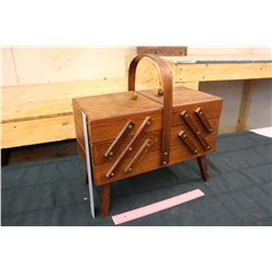 Wooden Fold Out Container w/Compartments