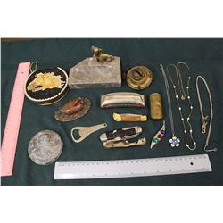 Lot of Vintage Misc: Harris Metal, Pocket Knives, Jewelry ,Etc