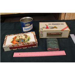Lot of Cigar Boxes and Tobacco Tins