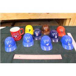 Lot of Sports Toy Hats and Hockey Mug