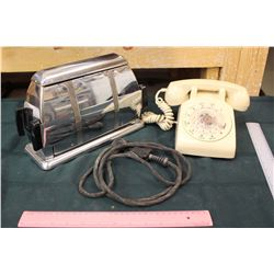 Vintage Toaster and Rotary Telephone