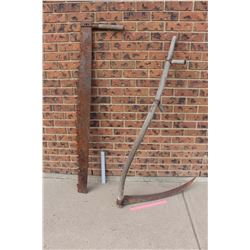 "Vintage long Saw (55"" Long) and Hay Sickle (29"" Long Blade)"