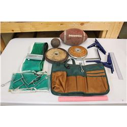 Lot of Sports Equipment and Apron (Table Tennis, Football, Discus, Shot Put)