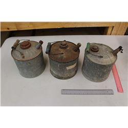 Lot of Vintage Gas Cans (3)