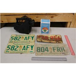 Lot of Misc: Saskatchewan License Plates, A Block Heater, Etc