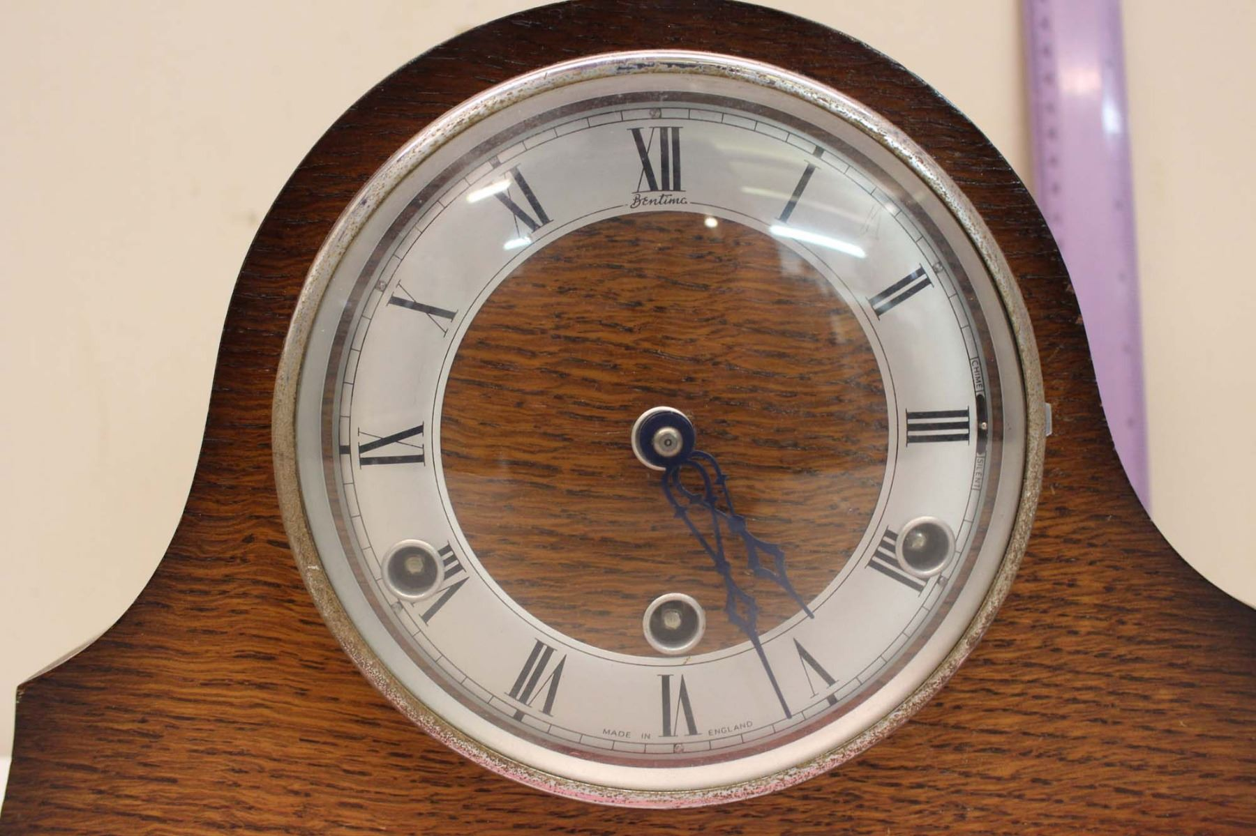Vintage Wooden Table Top Clock Bentina Made In England