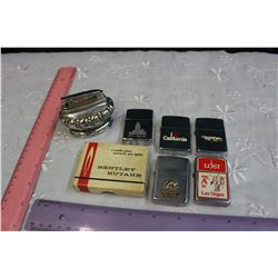 Lot Vintage Lighters (7)(Zipper (3), Boxed Bentley)