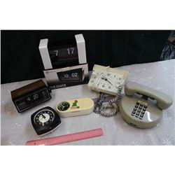 Lot of Alarm Clocks (5) & A Phone