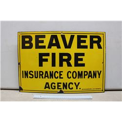 Vintage Porcelain Beaver Fire Insurance Sign