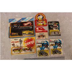 Vintage Corgi James Bond Car, 1974 Batman Motorcycles (2), 1980 Tom&Jerry Car Set, 1981 Snoopy Car,