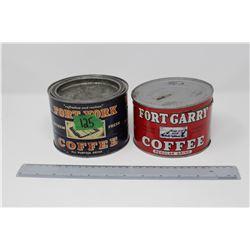 Old Hudson's Bay Fort York Coffee Tin (Unopened)& Old Hudson's Bay Fort Garry Coffee Tin