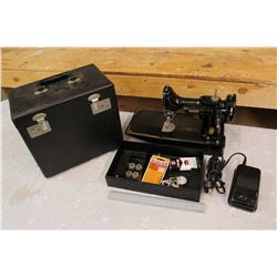 Vintage Featherweight Singer Sewing Machine w/Case and Accessories