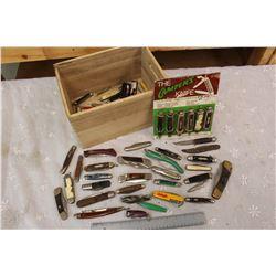 Crate of Vintage Pocket Knives