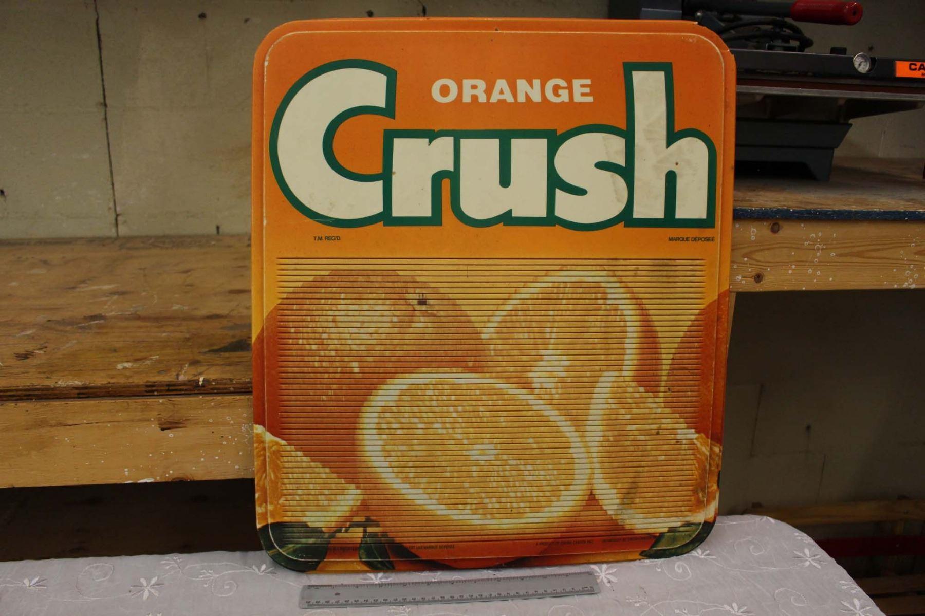 Plastic Orange Crush Sign