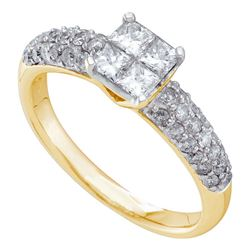 1 CTW Princess Diamond Cluster Bridal Engagement Ring 14KT Yellow Gold - REF-119F9N