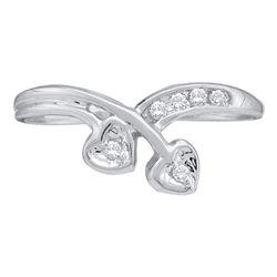 0.06 CTW Diamond Double Heart Simple Ring 10KT White Gold - REF-8W9K