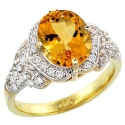 Natural 2.92 ctw citrine & Diamond Engagement Ring 14K Yellow Gold - REF-102N7G