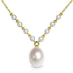 Genuine 4.8 ctw Pearl & Diamond Necklace Jewelry 14KT Yellow Gold - REF-121V9W