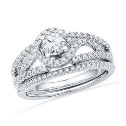 0.75 CTW Diamond Bridal Wedding Engagement Ring 14KT White Gold - REF-112W5K