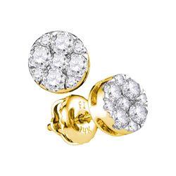 0.50 CTW Diamond Flower Stud Earrings 14KT Yellow Gold - REF-44K9W