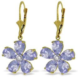 Genuine 4.43 ctw Tanzanite & Diamond Earrings Jewelry 14KT Yellow Gold - REF-79M3T