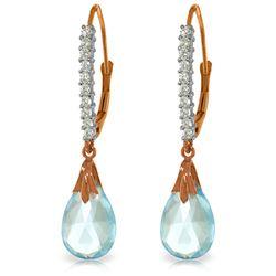 Genuine 6.3 ctw Blue Topaz & Diamond Earrings Jewelry 14KT Rose Gold - REF-56Y3F