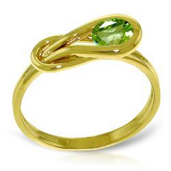 Genuine 0.65 ctw Peridot Ring Jewelry 14KT Yellow Gold - REF-47Z2N