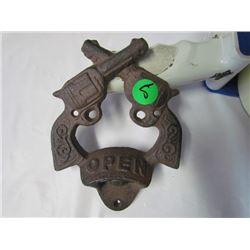 Cast iron cross revolver bottle opener