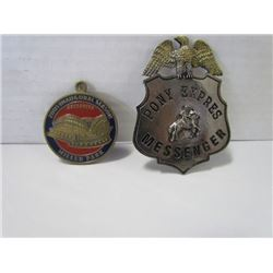 Pony Express messenger pin (repro) & Miller Park Stadium Reopening After collapse 2001