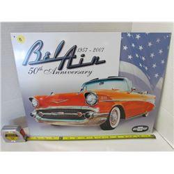 BelAir 50th Anniversary Chevy Metal sign 16x12.5