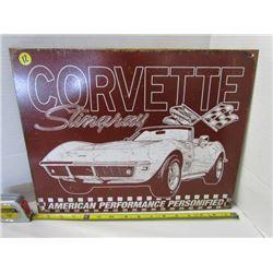 Corvette Stingray Metal sign 16x12.5