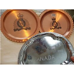 1 tray & 2 copper plaques