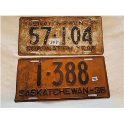 License plate 1936, 1937