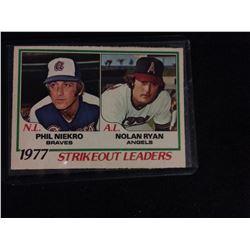 1977 Strikeout Leaders Baseball Card Phil Niekro Nolan Ryan