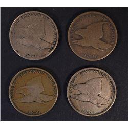 2-1857 & 2-1858 FLYING EAGLE CENTS, VG