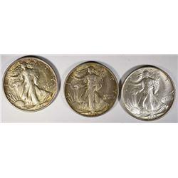 3 - 1945-S WALKING LIBERTY HALF DOLLARS