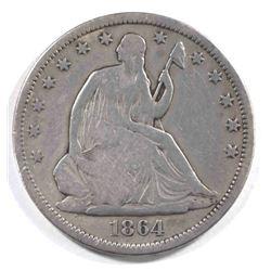 1864-S SEATED HALF DOLLAR, VG/FINE