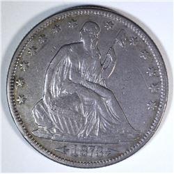 1873 WITH ARROWS SEATED HALF DOLLAR, XF