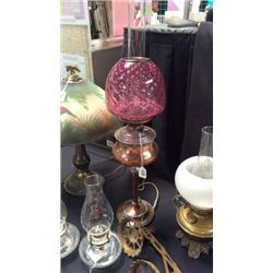 Brass Lamp with Pink Shade 31inches T