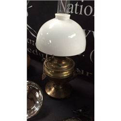 Brass Aladdin Lamp with white shade 21in tall