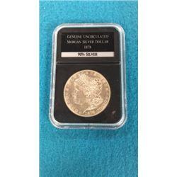 Genuine Uncirculated Morgan Silver Dollar 1878