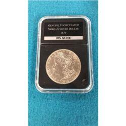 Genuine Uncirculated Morgan Silver Dollar 1879